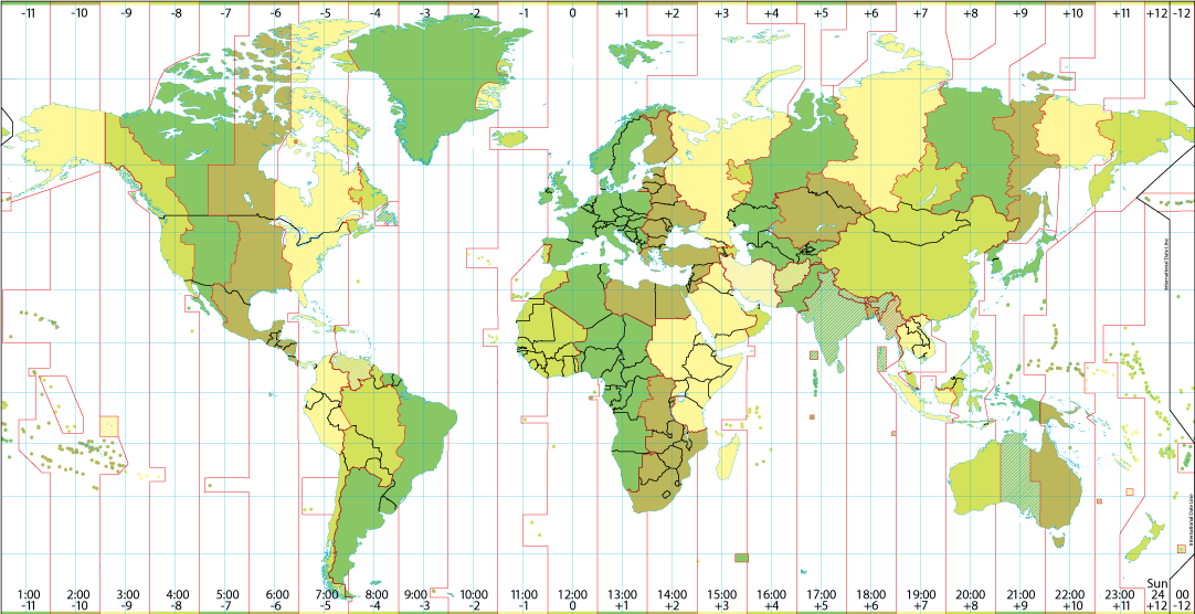 world time zone map